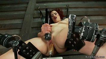 Solo brunette anal fucks dildo drill