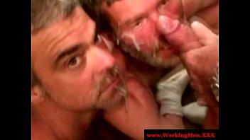 Florida gay news Two straight mature bears share facial