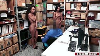 Officer fucks two ebony shoplifters