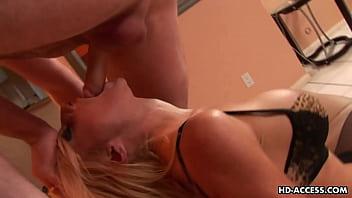 Big tit blonde deepthroats cock