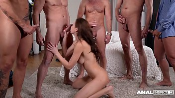 Anal inspectors wanna watch Tina Kay fucked & DP'ed by 5 studs on porn set
