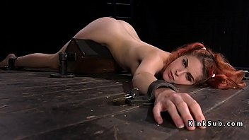 Hairy babe in bondage feet caned