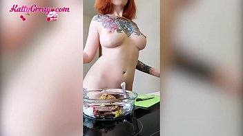 Busty Redhead Masturbates, Dances and Cooks in the Kitchen