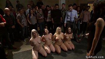 Four anal sluts banged in public orgy