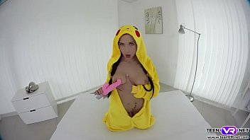 VR Pokemon teen Nicole Love toys her sweet pussy