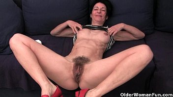 Hairy purple panties - Granny hides a full bush in her soaked panties