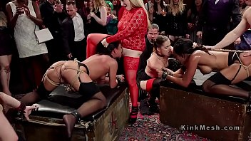 Fist time orgy - Nasty anal slaves rode at orgy party