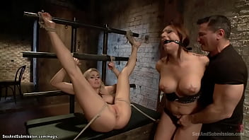 Hot bound slaves threesome anal fucked