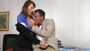 Office babe spanked while being assfucked
