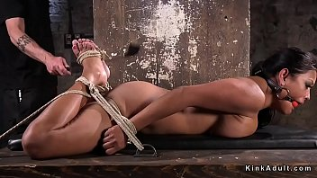 HUGE TITS GAGGED SLAVE TOYED IN DUNGEON