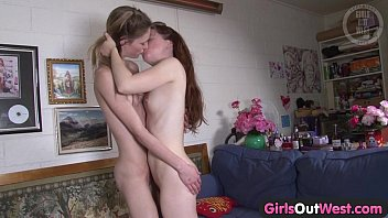 Girls Out West - Screaming hairy lesbian fingered at home