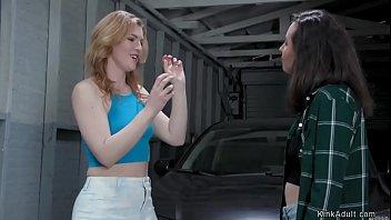 Lesbian stepsisters anal fuck in garage