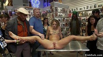 Blonde dp fucked in public souvenir shop