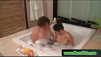 Hot masseuse slides her perfect body over her clients - Ariel B & Alex