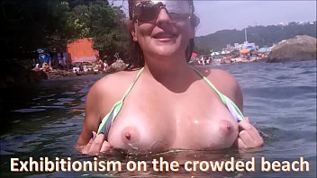 Exhibitionism on the crowded beach