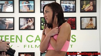 Real teenie roughly pounded at casting