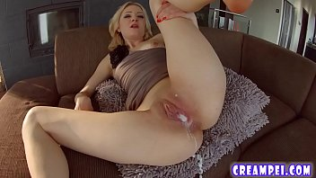 Blonde babe is bent over and fucked in this creampie scene