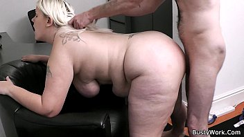 Working blonde woman takes bass cock from behind