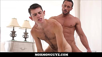 Cock gay hairy man sucking - Twink mormon boy is seduced by daddy bear hunk president with big muscles