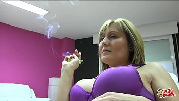 Spanish milf Nuria fucks a young boy while she smokes a cigar