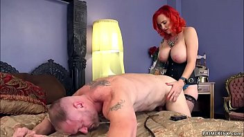 Huge tits MILF escort pegging man