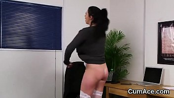 Naughty stunner gets cum load on her face swallowing all the love juice