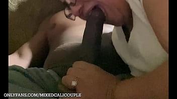 latina wife sucking bbc in living room, interracial, OF-mixedcalicouple