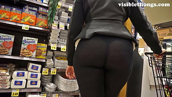 Ass field grabbed pantie she through walking See-through leggings visible thong booty 25
