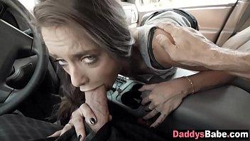 Dad and daughter blowjob in car