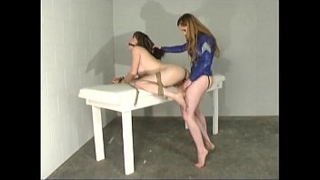 Natali demore lesbian with her slave in straitjacket 1