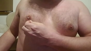 Nipple playpiercing with safety pin