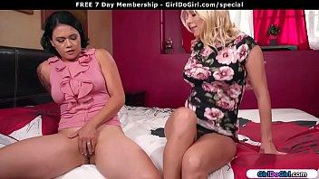 Busty milf friends masturbating together
