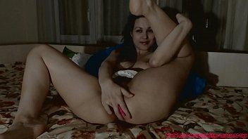 Hot girl having fun with vibrator in her hairy pussy.