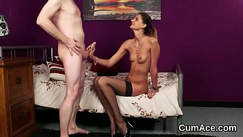 Unusual babe gets cum shot on her face gulping all the jism