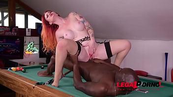 Redhead Zara Durose gets fingered & fucked by black stud's big monster cock GP426