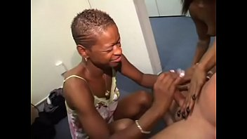 Two black whores suck and ride on white stud's dick before sharing his jizz