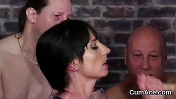 Kinky hottie gets cum shot on her face gulping all the jizm