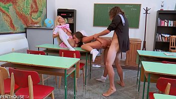 Naughty schoolgirls Amirah Adara and Nesty spanked and fucked by professor