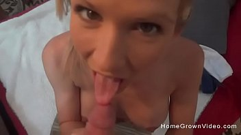 Gorgeous wife masturbating then sucking a hard cock