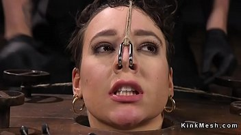 Brunette in suspension pussy rough fucked