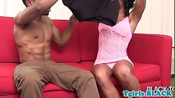 Busty black tgirl assfucked after blowjob