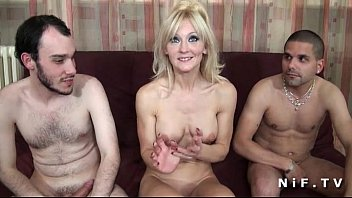 French busty mature hard banged in threesome