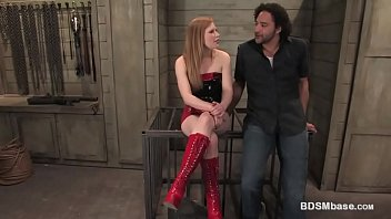 Caged Guy Pegged by a Horny Mistress