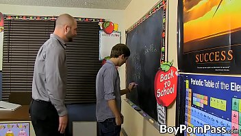 Skinny twink student bends over for his manly jock teacher
