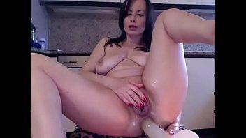 Milf fucks big dildo live home porn