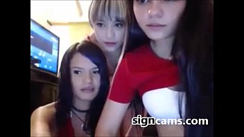 Three cute teens shows hot body