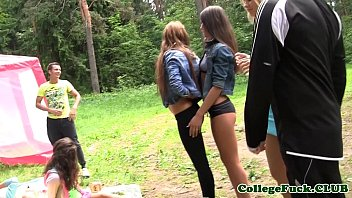 College babes assfucked after stripping