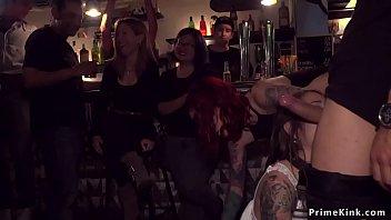 Naked cutie gangbanged in public bar - 69VClub.Com