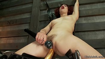 Hairy cunt squirter fucks machines