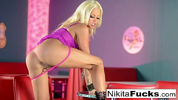 Russian Milf Nikita stretches her pussy with a glass toy